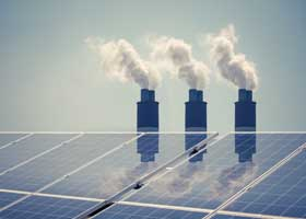 Clean energy solar panels with chimneys pumping pollution behind